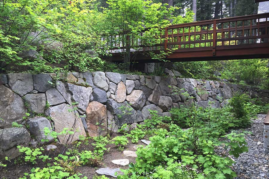 Stone Walkway Retaining Wall