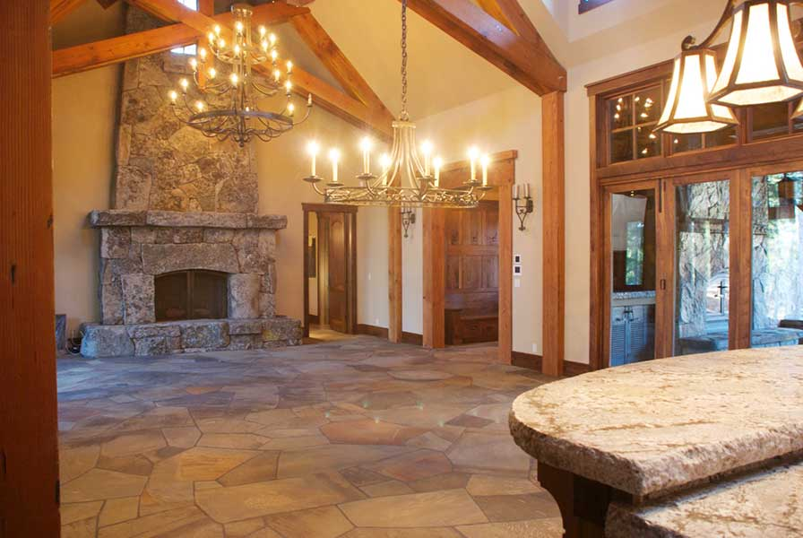 Stone floor and fireplace